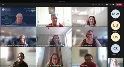 Nine people are on a video call.